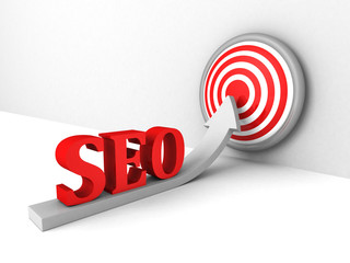 seo concept with growing arrow to success target
