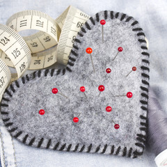 Heart shaped pincushion and tailor accessories