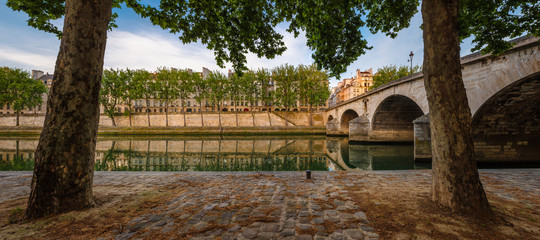Summer morning in Paris by the River Seine and Ile Saint Louis