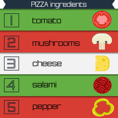 Pizza ingredients infographics multicolor ribbons, vector