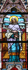 Saint Catherina, stained glass in Minoriten kirche in Vienna
