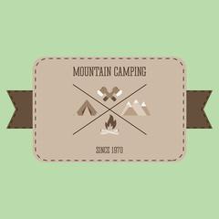 Mountain camping adventure badge graphic design logo emblem