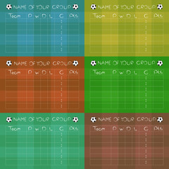 Soccer Championship Group Stages on colored fields, vector