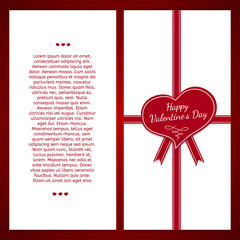 Vertical template postcards. Decorated with red ribbon and heart