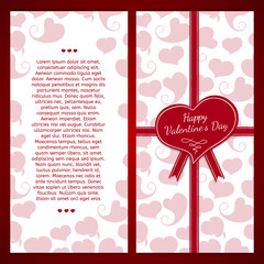 Vertical template postcards. Decorated with a red ribbon, the