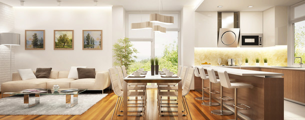 Modern kitchen and living room in a big house