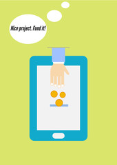 Flat design vector concept of crowdfunding via smartphone.