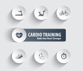 Cardio Training trendy icons on circles with shadow vector