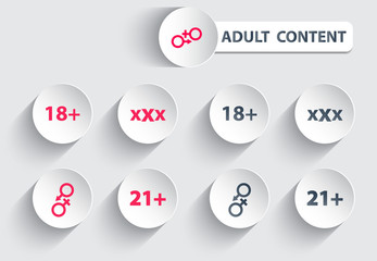 adult content trendy icons on circles with shadow