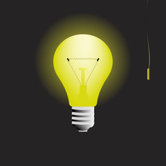 Glowing light bulb in the dark with switch vector illustration