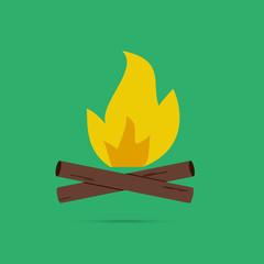 Bonfire colored logo, labels and badges. Travel emblems.