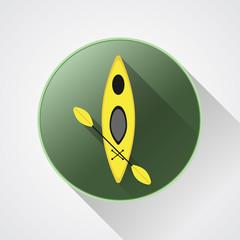 Canoe icon vector. Kayak illustration on a green button. Summer