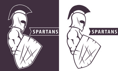 spartan warrior with shield vector illustration, eps10