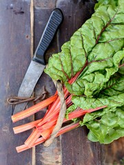Raw Organic Rainbow Swiss Chard on a Background