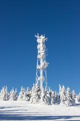 Transmitter in ski center in winter