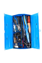 mechanic tools from repairman in blue box