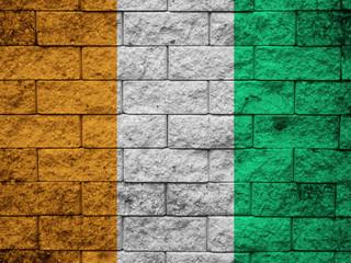 Ivory Coast Flag painted on grunge wall