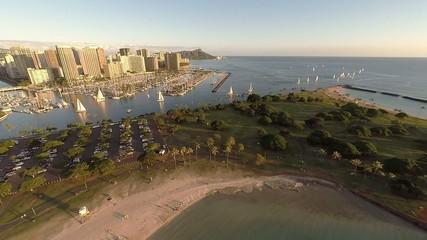 Aerial over Ala Moana Beach Park towards Diamond Head