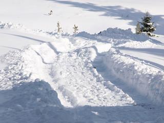 tire tracks in fresh snow