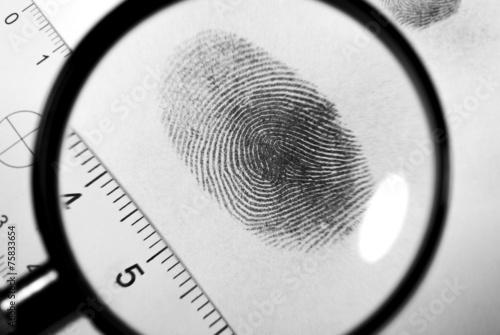 Fingerprint on white paper.