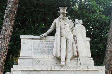 Sculpture dedicated to G.G.Belli in Rome city on May 31, 2014