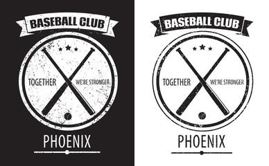 Baseball Club Phoenix grunge emblem vector illustration, eps10