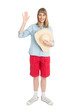 Funny woman tourist with straw hat in red shorts.