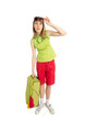 Funny girl tourist with green bag in sunglass.