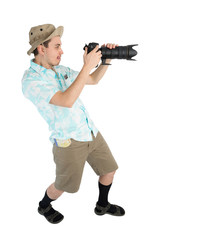 Funny man photographer making picture by camera.