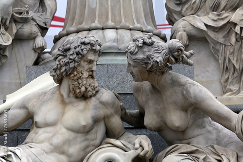 Detail of Pallas-Athene fountain in Vienna, Austria