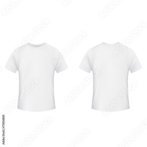 Blank t-shirt template. Front and back side on a white backgroun - 75836860