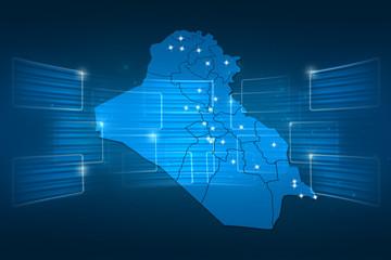 Iraq Map World map News Communication blue