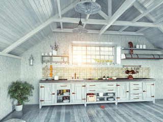 kitchen  in the attic