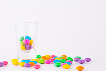 Candy In glass On white Background