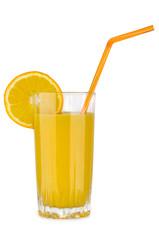 Orange juice in glass beaker with straw