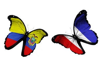 Concept - two butterflies with Ecuador and France flags