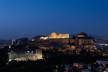 The Acropolis of Athens illuminated