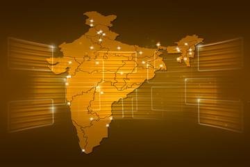 India Map World map News Communication yellow gold