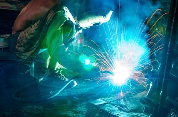 Welding steel structure in factory