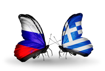 Two butterflies with flags Russia and Greece
