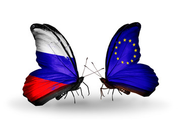 Two butterflies with flags Russia and EU