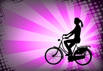 female bicyclist on the abstract purple background - vector