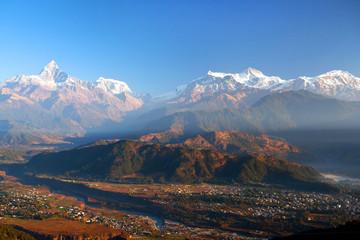 Himalayan mountains from Sarangkot hill, Pokhara, Nepal