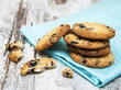 Chocolate cookies on wooden table - 75839613