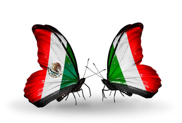 Two butterflies with flags Mexico and Italy