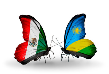 Two butterflies with flags Mexico and Rwanda