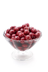Cherries in a glass vase