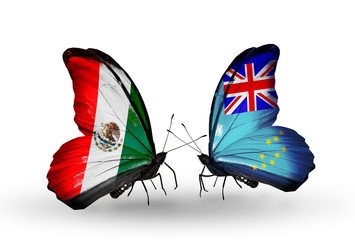 Two butterflies with flags Mexico and Tuvalu