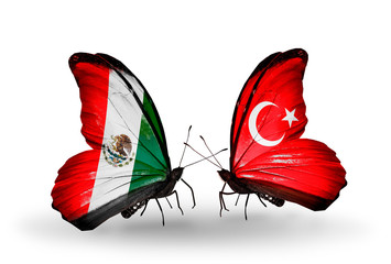 Two butterflies with flags Mexico and Turkey