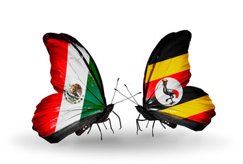 Two butterflies with flags Mexico and Uganda